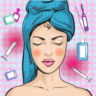 Vrouw in schoonheidssalon in pop-artstijl