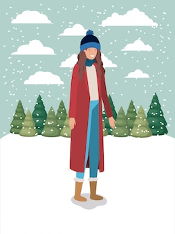 Vrouw in snowscape met winterkleren