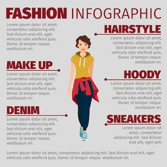 Vrouw in sport kleding mode infographic sjabloon