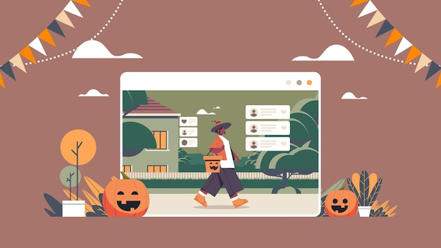 Vrouw in sprookjeskostuum chatten in web browservenster happy halloween vakantie feest zelfisolatie online communicatie concept horizontale volle lengte vectorillustratie