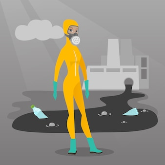Vrouw in stralingsbeschermingspak.