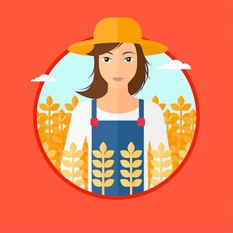 Vrouw in tarweveld.