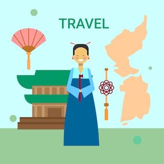 Vrouw in traditionele koreaanse kleren over de kaart van korea
