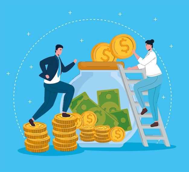 Vrouw in trappen met pot met geld en zakenman lopen