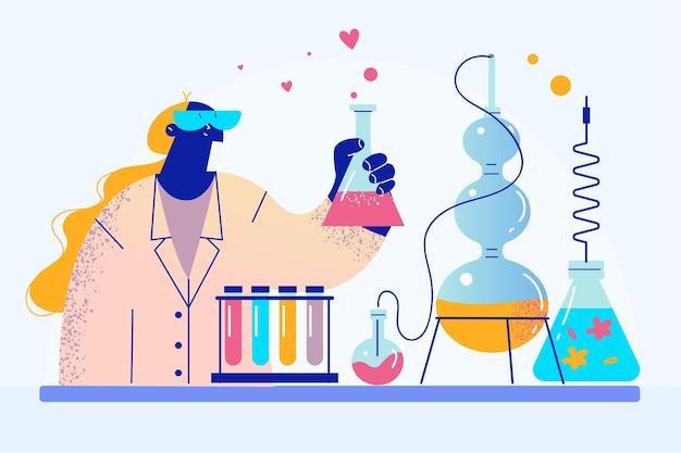 Vrouw in uniform werkzaam als experimentele arts of scheikundeleskundige in laboratorium