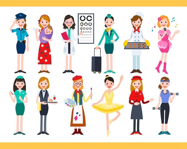 Vrouw in verschillende carrières, verzameling van leuke diverse banen in