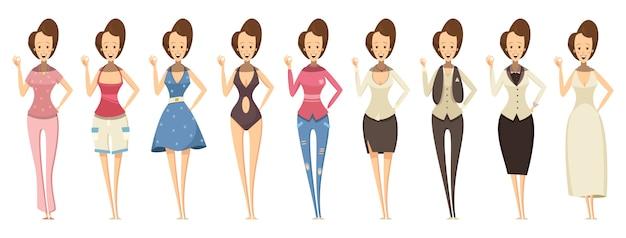 Vrouw in verschillende outfits set