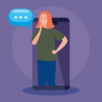 Vrouw in videoconferentie in smartphone