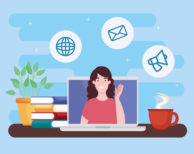 Vrouw in virtuele conferentie