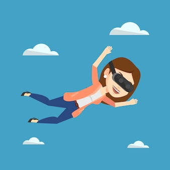 Vrouw in vrhoofdtelefoon die in de hemel vliegt.