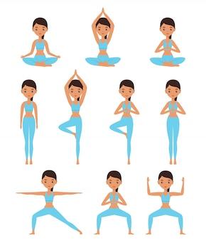 Vrouw in yoga houdingen stelt lotus, godin, berg, boom, krijger.