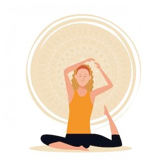 Vrouw in yoga houdingen
