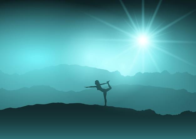 Vrouw in yoga-positie in het landschap
