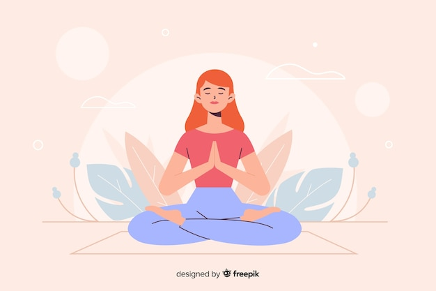 Vrouw in yogapositie voor bestemmingspagina