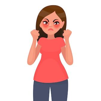 Vrouw is boos en ontevreden. illustratie in cartoon-stijl