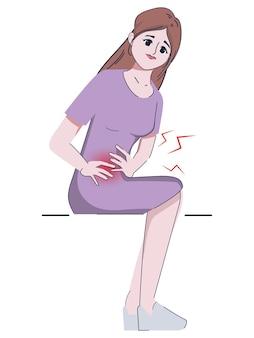 Vrouw is maag en heeft menstruatie