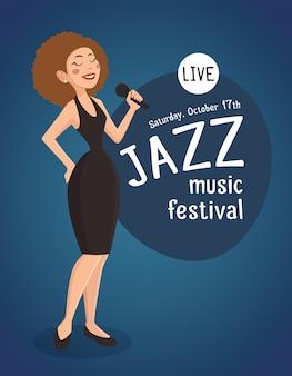 Vrouw jazz zanger illustratie