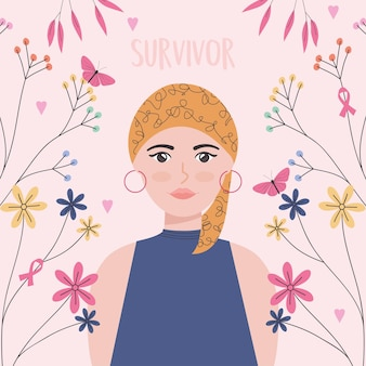Vrouw kanker overlevende illustratie met bloemen