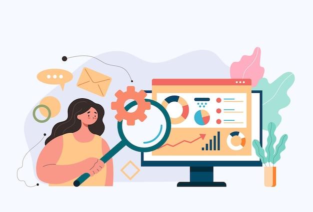 Vrouw kantoormedewerker karakter informatie zoeken via internet online financiën analytics zoeken informatie boekhoudkundige concept