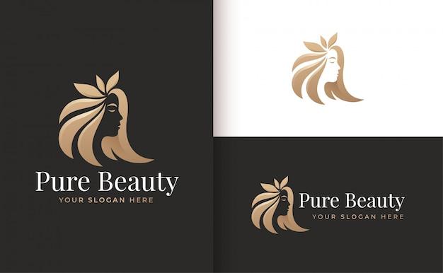 Vrouw kapsalon gouden kleurovergang logo ontwerp