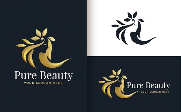 Vrouw kapsalon gouden verloop logo ontwerp