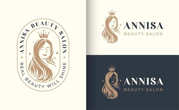 Vrouw kapsalon logo badge ontwerp