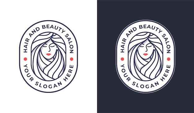 Vrouw kapsalon logo ontwerp