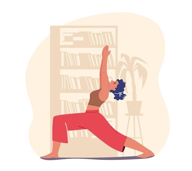 Vrouw karakter doen stretching of yoga oefeningen thuis