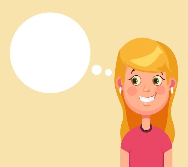 Vrouw karakter heeft een goed idee en toespraak bubble cartoon afbeelding