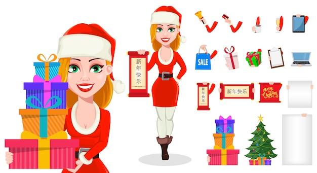 Vrouw karakter in santa claus kostuum en geschenken of geschenken in handen