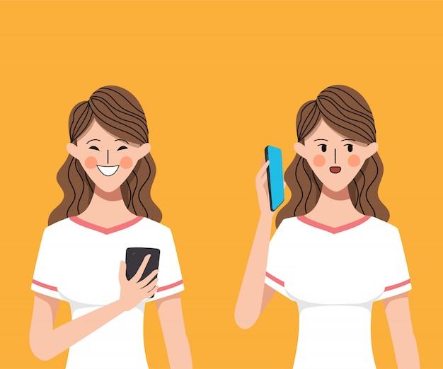 Vrouw karakter met behulp van smartphone voor communicatie.