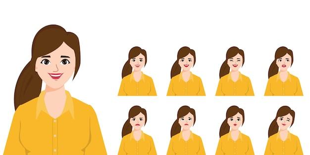 Vrouw karakter met verschillende poses en emoties