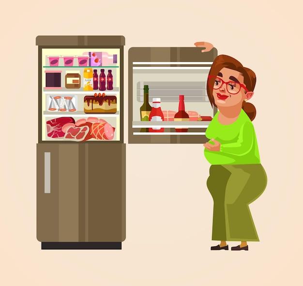 Vrouw karakter staande in de buurt van koelkast