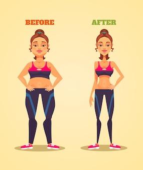 Vrouw karakter voor en na het verliezen van gewicht platte cartoon afbeelding