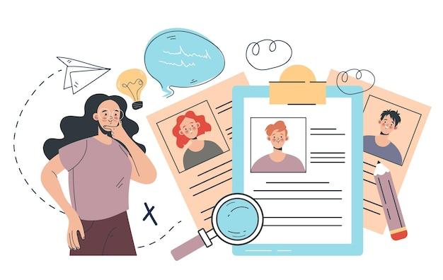 Vrouw karaktermanager die werkkandidaat kiest headhunting recruitment hr management