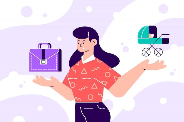 Vrouw kiezen tussen familie- of ouderverantwoordelijkheden en carrière of professioneel succes. moeilijke keuze, levensdilemma, evenwicht zoeken, besluitvorming. moderne platte cartoon illustratie