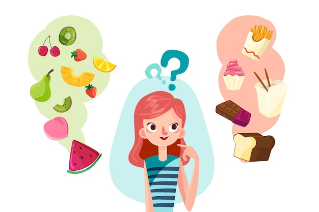 Vrouw kiezen tussen gezond of ongezond voedsel