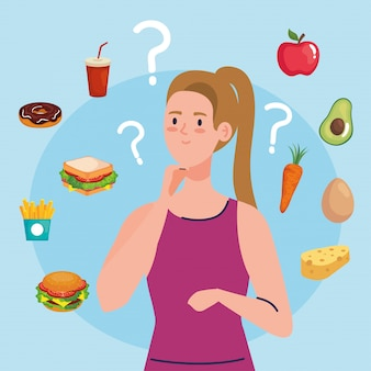 Vrouw kiezen tussen gezonde en ongezonde voeding, fastfood vs uitgebalanceerd menu