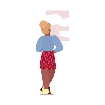 Vrouw kijken naar abstracte foto cartoon platte vectorillustratie geïsoleerd