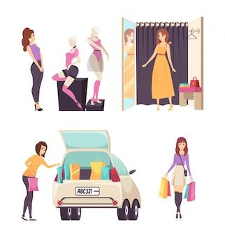 Vrouw kijken naar kleding op mannequins instellen vector
