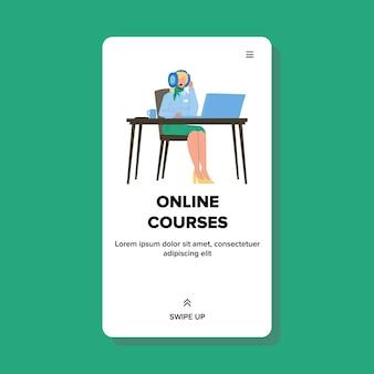 Vrouw kijken naar online cursussen onderwijs