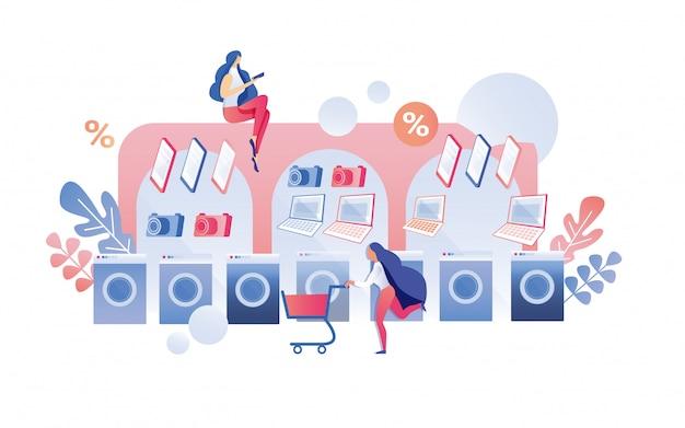 Vrouw klant haasten om item met kortingen te kopen