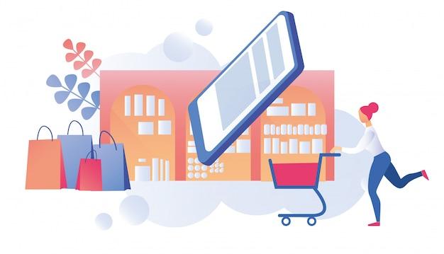 Vrouw klant met winkelwagen op shopping tour online