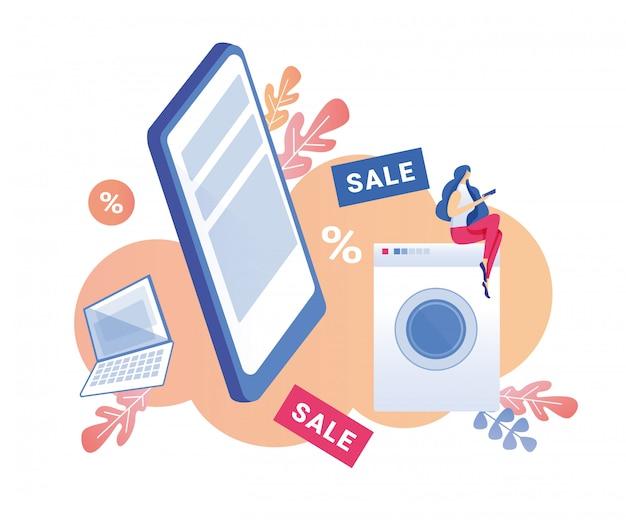 Vrouw klant overweegt aankopen tegen verkoopprijs