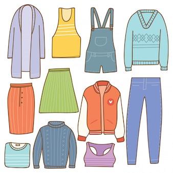Vrouw kleding collectie in doodle stijl