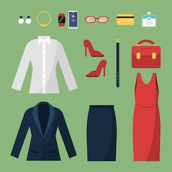 Vrouw kleding. mode zakelijke stijl voor vrouwelijke officemanagers directeuren kledingkast rok pak jas hoed tas bovenaanzicht s