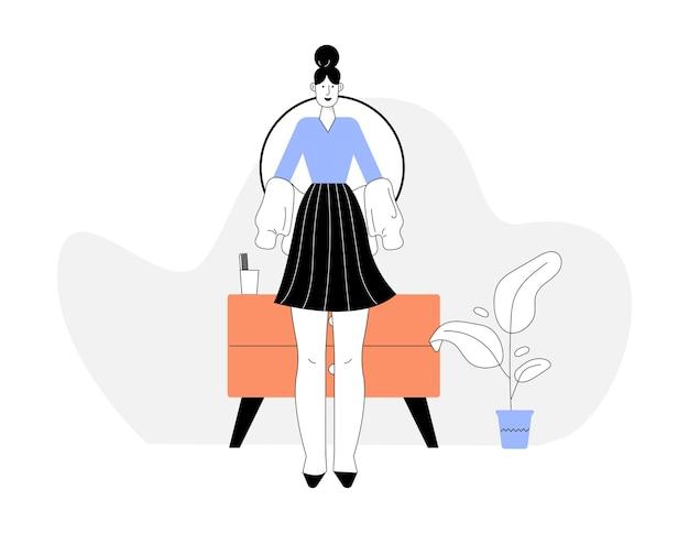 Vrouw kleedt zich voor de spiegel, gaat naar haar werk of keert terug naar huis. design interieur met dressoir, potplant.