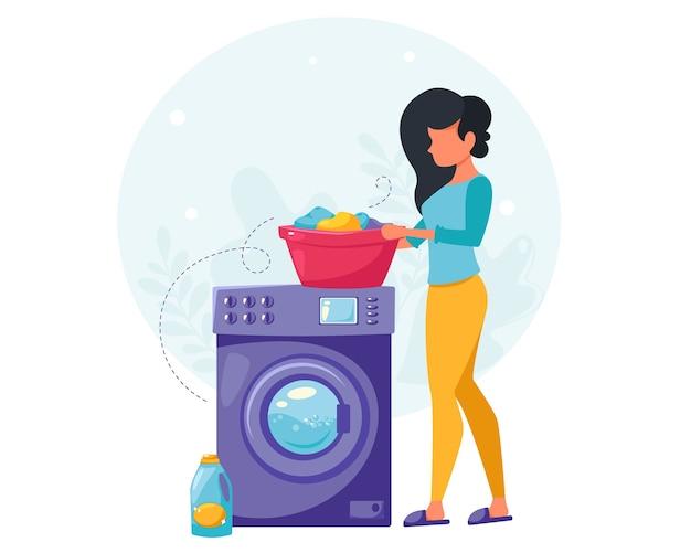 Vrouw kleren wassen. huis schoonmaak concept. huisvrouw die het huis schoonmaakt. in een vlakke stijl.