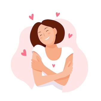 Vrouw knuffelen zichzelf met harten. hou van jezelf. houd van je lichaamsconcept. vector illustratie