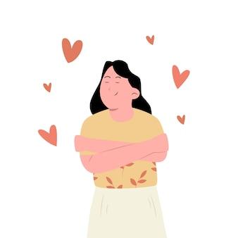 Vrouw knuffelen zichzelf